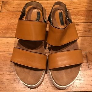 Zara Brown Banded Sandals with Cork & Rubber soles